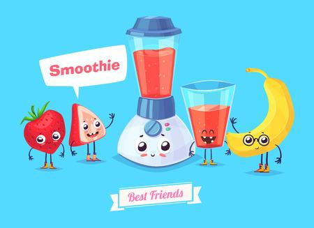 aliments droles: Petit-déjeuner sain. personnages drôles baie banane et un verre de smoothie. nourriture drôle.
