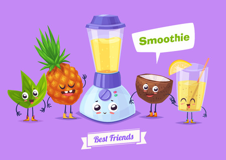 coconuts: Healthy Breakfast. Funny characters coconut pineapple and a glass of smoothie. Funny food. Illustration