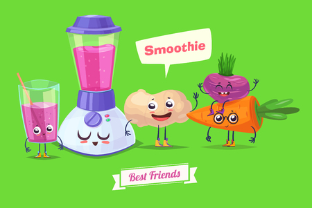 zanahoria caricatura: Healthy Breakfast. Funny characters carrot ginger beet and a glass of smoothie. Funny food.