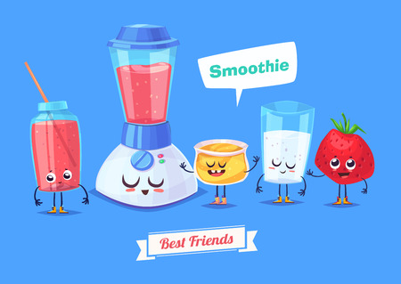 cartoon berries: Healthy Breakfast. Funny characters honey milk strawberry and a glass of smoothie. Funny food. Illustration