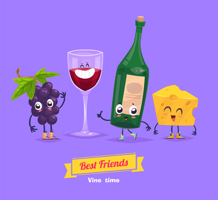 Healthy Breakfast. Funny characters grape cheese bottle and a glass of vine. Funny food. Vector Illustration