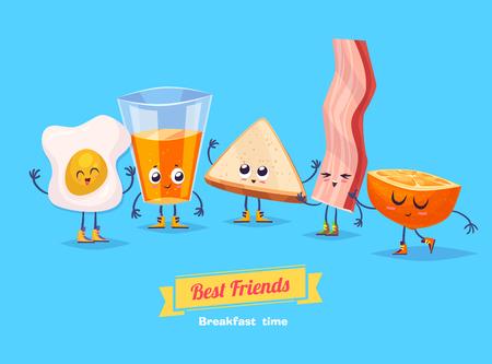 cocina caricatura: Desayuno. café pan tocino divertido caracteres huevo y jugo de naranja. Mejores amigos fijados. Vectores