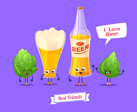 cold drinks: Beer. Funny characters beer glass bottle and thirsty. Best friends set. Illustration
