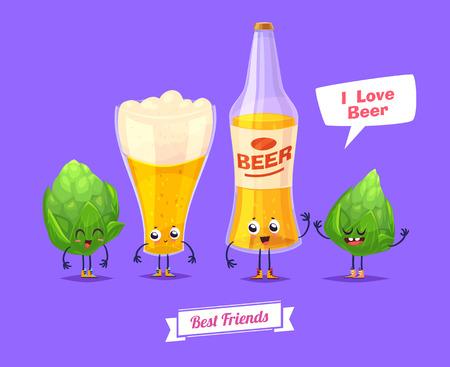 bebidas frias: Cerveza. Caracteres divertidos botella de vidrio de cerveza y sed. Mejores amigos fijados.
