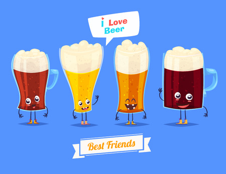 ale: Beer. Funny characters beer glasses dark light red ale. Best friends set.