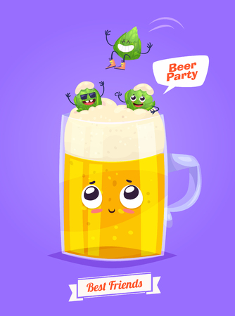 party cartoon: Beer. Funny characters beer glass and  hop. Best friends set. Funny alcohol.