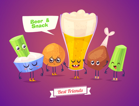merienda: La cerveza y aperitivos. Caracteres divertidos de luz vaso de cerveza y bocadillos. Mejores amigos fijados. Vectores