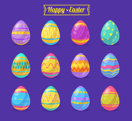 hunt: Happy Easter greeting card with colored eggs. Illustration