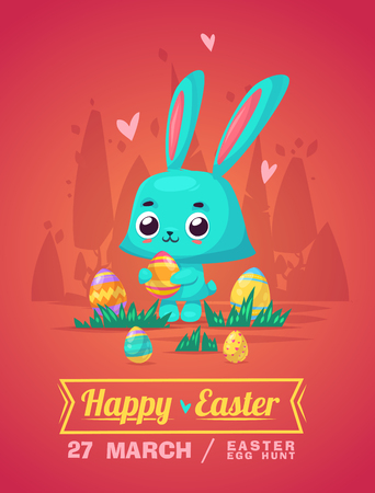 cartoon banner: Happy Easter greeting card with bunny and eggs.