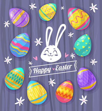Happy Easter greeting card with wood texture and eggs.
