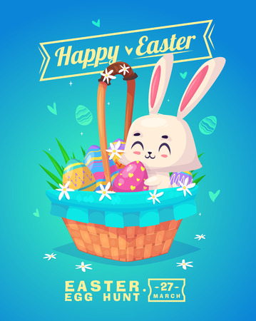 cartoon easter basket: Happy Easter greeting card with bunny and eggs.