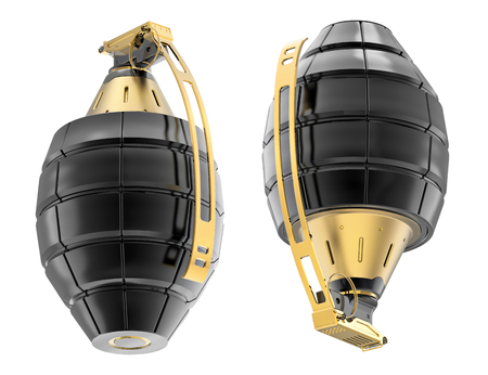 granade: Isolated grenade on white background. 3d realistic render illustration.