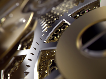 Clockwork or a machine inside. Closeup gears and cogs. Realistic Industrial 3d illustration.