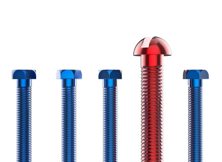 metal parts: Set of blue and red bolts on white background. Closeup set of bolts. Realistic Industrial 3d illustration. Stock Photo