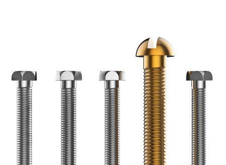 tornillos: Conjunto de tornillos de oro y plata sobre fondo blanco. Primer conjunto de pernos. Ilustración 3d realista industrial.