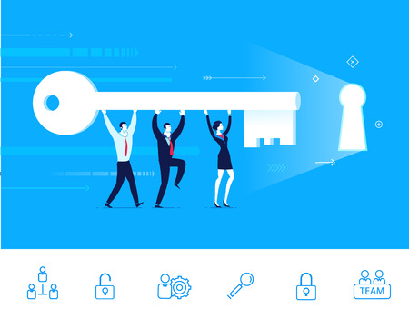 Flat design vector illustration concept of team work. Businessman and businesswoman go to the door with a key. Vector clipart. Icons set.