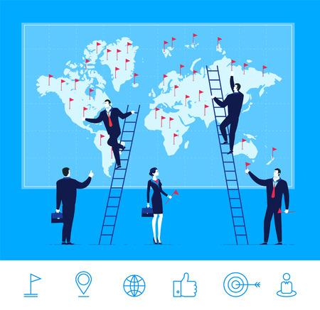 profesional: Flat design vector illustration concept of team work. business team on a map marks offices and business allies. Vector clipart. Icons set. Illustration