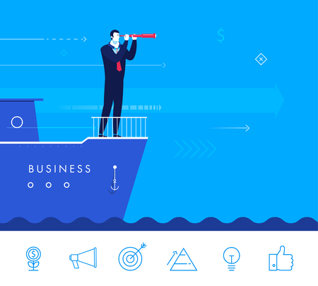 see: Flat design vector concept illustration. Businessman standing on a boat and looking through a telescope. Vector clipart. Icons set.
