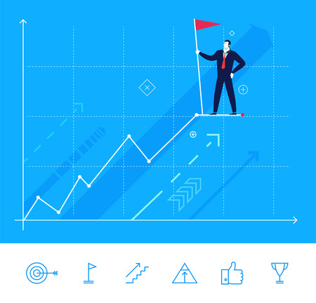 summit: Flat design vector concept illustration. Businessman standing at the top with cling to the flag. Vector clipart. Icons set. Illustration