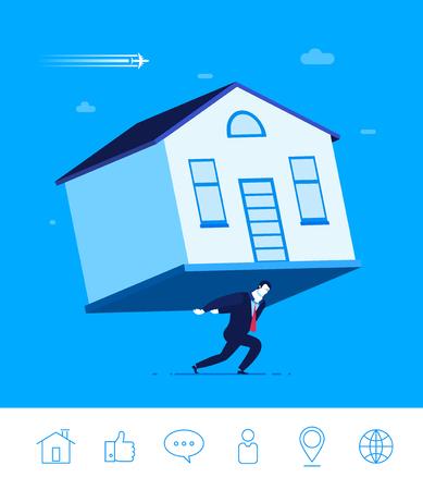 Diseño plano vector concepto de ilustración. El hombre de negocios que sostiene una casa. Contribución de inmuebles o hipoteca. Ilustraciones. Iconos conjunto.
