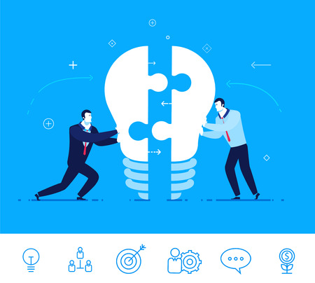Flat design vector concept illustration. Two businessmen unite lamp of the puzzle.  Joining forces, the birth of a new idea . Vector clipart. Icons set. 向量圖像