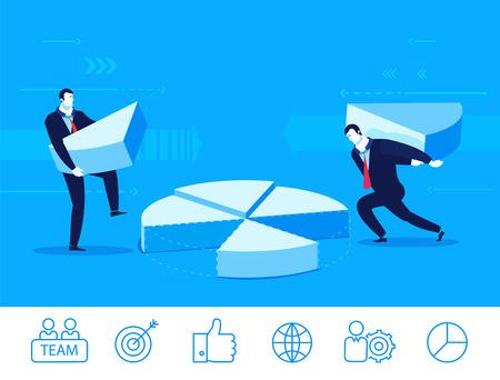 recoger: Diseño plano vector concepto de ilustración. Dos hombres de negocios recogen gráfico. Ilustraciones. Iconos conjunto. Vectores