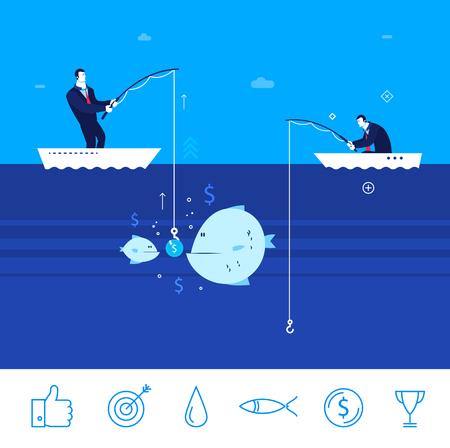 フラットなデザインの概念図。釣りの 2 つのビジネスマン。良い生産。良い利益。失敗をキャッチします。クリップアート。アイコンを設定します  イラスト・ベクター素材