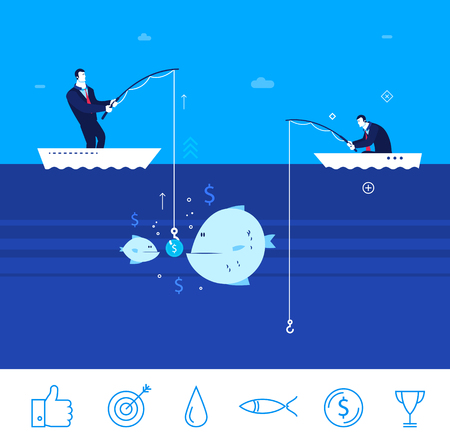 Flat design concept illustration. Two businessman on fishing. good production. Good profit. Unsuccessful catch. clipart. Icons set.