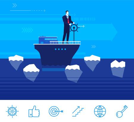 Flaches Design-Konzept Illustration. Geschäftsmann ist verantwortlich für das Schiff. Geschäfts Hindernisse. Die Schlüsselperson im Geschäft. Clip Art. Icons gesetzt.
