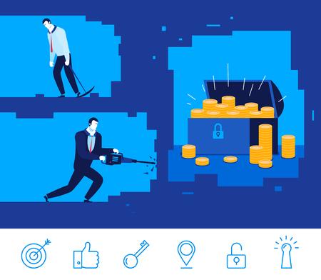 Flat design concept illustration. Two businessman digging the ground. Good profit. Unsuccessful catch. clipart. Icons set.
