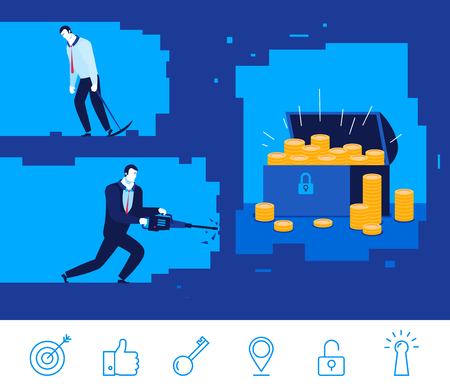 Diseño plano ilustración del concepto. Dos hombre de negocios que cava la tierra. Buena ganancia. captura sin éxito. clipart. Iconos conjunto. Ilustración de vector