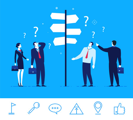 guidance: Flat design concept illustration. Businessmen and businesswomen standing at a crossroads. Decision-making. An important decision for the success of. Good profit. clipart. Icons set.
