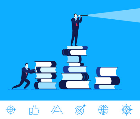 Flat design concept illustration. Businessman standing on a large pile of books and looking through a telescope. Received knowledge. Success is very close. Good profit. clipart. Icons set. Stock Illustratie