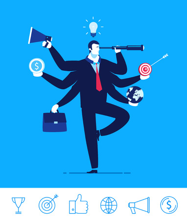 Flat design concept illustration. Businessman with multitasking and multi skill. Businessman with six hands holding objects telescope target portfolio Money Globe lamp Good profit. clipart. Icons set. Ilustração