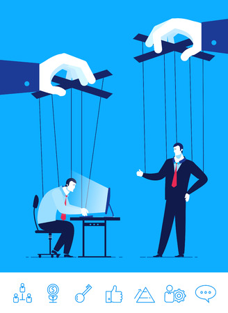 Flat design concept illustration. Businessman and manager a puppet in the hands of others.  Good profit. clipart. Icons set.