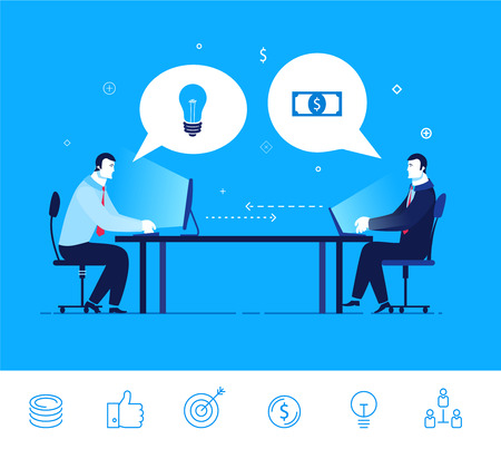 exchange profit: Flat design vector concept illustration. Two businessman discuss good deal. Exchange of ideas on the money.  Good profit. clipart. Icons set