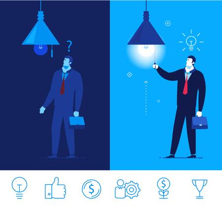 Piatto progettazione concetto illustrazione. Imprenditore in piedi al buio e non sapeva cosa fare. Imprenditore accende la luce, e per lui l'idea viene. Buon profitto. clipart. Icons set. Accendi la luce.