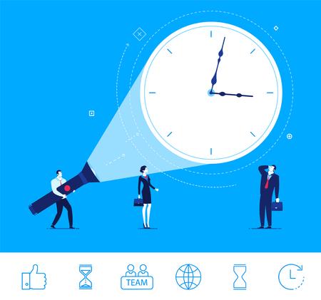 Diseño plano ilustración del concepto. buen momento para los negocios. fecha límite se acerca. negocios y de negocios que mira el reloj. clipart. Iconos conjunto.