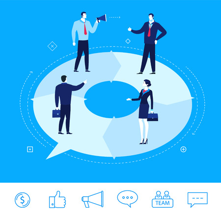 discussing: Flat design concept illustration. businessmen and businesswomen discussing work.  Good profit. clipart. Icons set.
