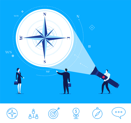 right path: Flat design concept illustration. Teamwork. Businessman points on the compass. Choose the right path. clipart. Icons set. Illustration