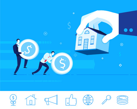 invest: Flat design concept illustration. Teamwork. Businessman gives a mortgage for a house. Good investment. clipart. Icons set.