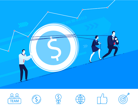 profitable: Flat design concept illustration. Teamwork. Profitable investment.  Choose the right path. clipart. Icons set.