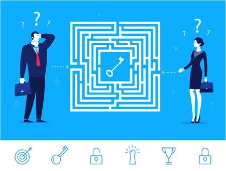 플랫 디자인 개념 그림. 팀워크. 미로를 통과하고 키를 얻는 방법을 생각하는 사업가. 오른쪽 경로를 선택합니다. 클립 아트. 아이콘을 설정합니다. 일러스트