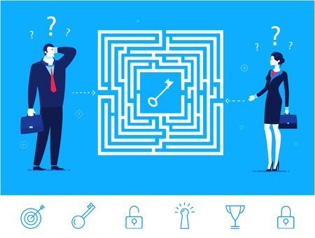 Flat design concept illustration. Teamwork. Businessman and businesswoman thinking how to pass the maze and get the key. Choose the right path. clipart. Icons set. Vettoriali