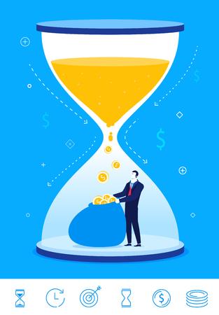 Diseño plano ilustración del concepto. el tiempo es dinero. El hombre de negocios se convierte el tiempo en dinero. clipart. Iconos conjunto.