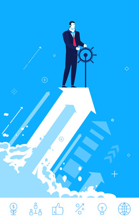 Flat design  concept illustration. Businessman stands at the helm of the business or startup. Choose the right path. clipart. Icons set. 向量圖像