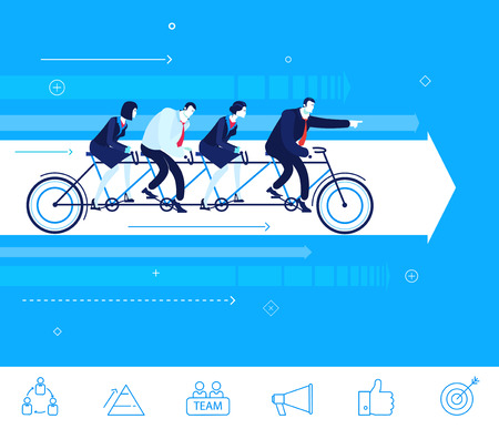 tandem: Flat design concept illustration. Teamwork. businessman and businesswoman sitting on the bike. Go to the target.  clipart. Icons set.