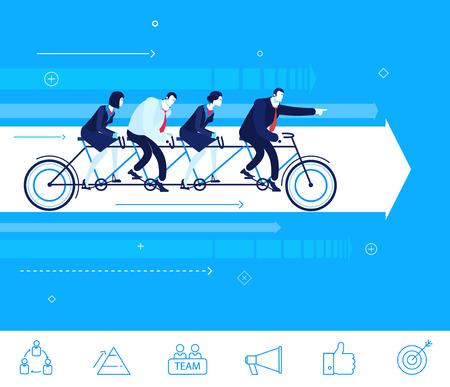 team effort: Flat design concept illustration. Teamwork. businessman and businesswoman sitting on the bike. Go to the target.  clipart. Icons set.