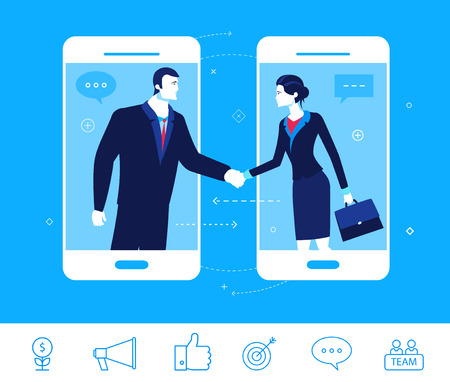 business relationship: Flat design concept illustration. Good deal. Negotiations businessman and businesswoman.  Good profit. clipart. Icons set.