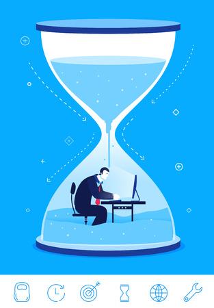 reloj de arena: Diseño plano ilustración del concepto. fecha límite línea de tiempo. Hombre de negocios sentado en el reloj de arena. clipart. Iconos conjunto.